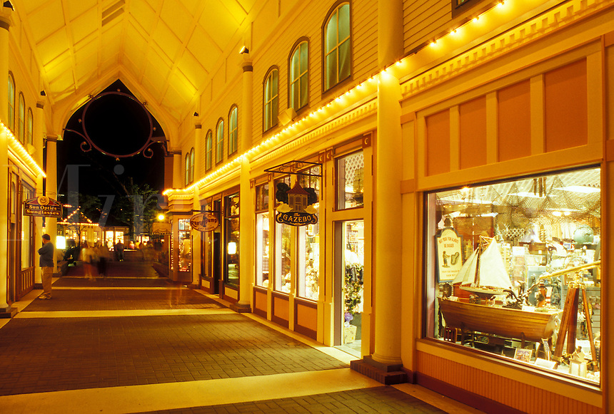 Mackinaw City, MI, Michigan, Mackinaw Crossing Shopping Center in the evening in Mackinaw City.