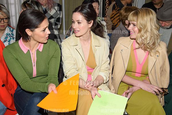 Annabelle Scholey, Maimie McCoy & Hannah Arterton at the Jasper Conran show as part of London Fashion Week, London, UK. <br /> 17 February  2018<br /> Picture: Steve Vas/Featureflash/SilverHub 0208 004 5359 sales@silverhubmedia.com