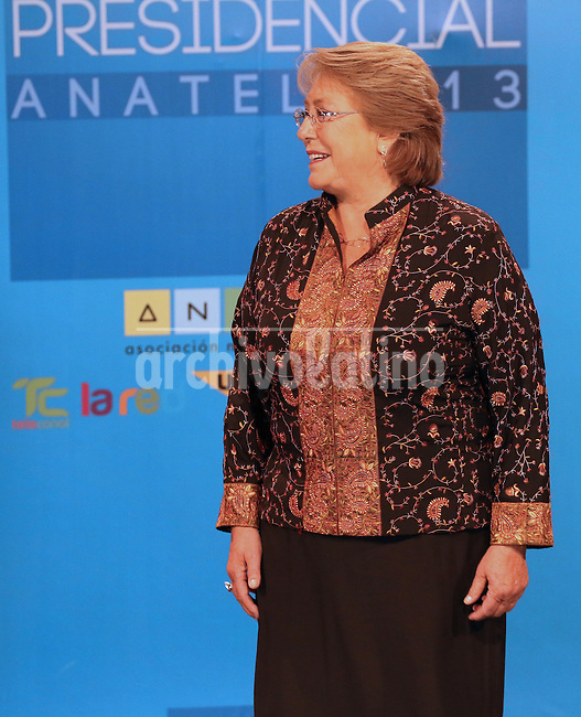 Candidate for President of Chile,  center-leftist  Michelle Bachelet,right, Chile's first female president who governed from 2006 to 2010. A few minutes  before the  presidential debate on TV. Chileans will elect in the second round next president of the republic  on December 15th 2013.