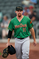 Down East Wood Ducks pitcher Josh Advocate (11) before a Carolina League game against the Fayetteville Woodpeckers on August 13, 2019 at SEGRA Stadium in Fayetteville, North Carolina.  Fayetteville defeated Down East 5-3.  (Mike Janes/Four Seam Images)