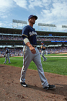 Milwaukee Brewers pitcher Kyle Lohse (26) walks to the bullpen during a game against the Chicago Cubs on August 13, 2015 at Wrigley Field in Chicago, Illinois.  Chicago defeated Milwaukee 9-2.  (Mike Janes/Four Seam Images)