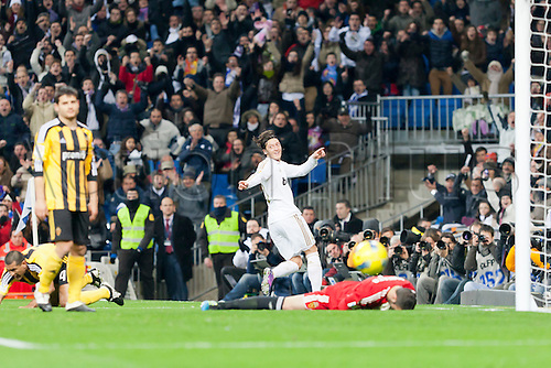 28.01.2012 Madrid, Spain, Real Madrids il celebrates the goal during the Spanish league game between Real Madrid and Real Zaragoza at the Santiago Bernabeu Stadium....