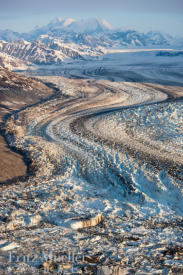 Aerial view of the Lowell Glacier, Kluane National Park, Yukon