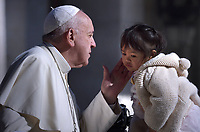 Pope Francis  during a weekly general audience at Saint Peter's square on April 17, 2019