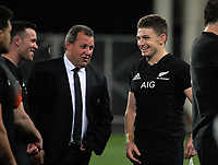 From left, Ryan Crotty, assistant coach Ian Foster and Beauden Barrett chat after the Rugby Championship and Bledisloe Cup rugby match between the New Zealand All Blacks and Australia Wallabies at Forsyth Barr Stadium in Dunedin, New Zealand on Saturday, 26 August 2017. Photo: Dave Lintott / lintottphoto.co.nz