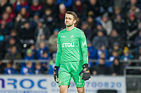 Lukasz Fabianski of Swansea City looks questioningly towards a referee's assistant during the EPL - Premier League match between Swansea City and Manchester City at the Liberty Stadium, Swansea, Wales on 13 December 2017. Photo by Mark  Hawkins / PRiME Media Images.