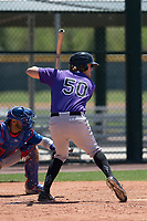 Colorado Rockies outfielder Aubrey McCarty (50) at bat during an Extended Spring Training game against the Chicago Cubs at Sloan Park on April 17, 2018 in Mesa, Arizona. (Zachary Lucy/Four Seam Images)