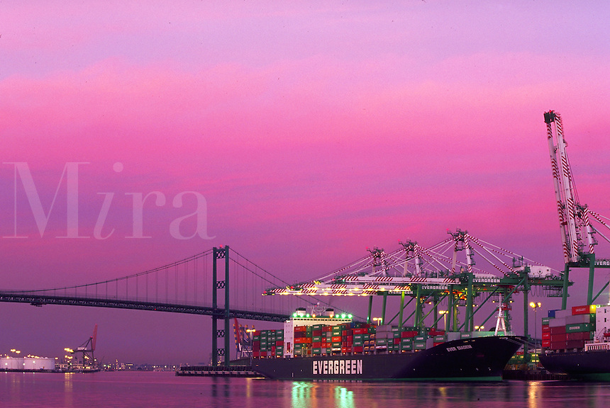 Container ship docked at twilight, Port of Los Angeles, San Pedro, California