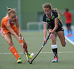 GER - Mannheim, Germany, May 25: During the U16 Girls match between The Netherlands (orange) and Germany (black) during the international witsun tournament on May 25, 2015 at Mannheimer HC in Mannheim, Germany. Final score 1-1 (1-0). (Photo by Dirk Markgraf / www.265-images.com) *** Local caption *** Annabel Weers #6 of The Netherlands, Marisa Martin Pelegrina #3 of Germany
