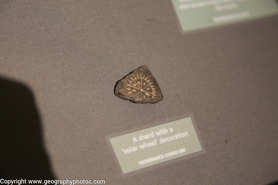 Shard of solar wheel neolithic decoration, National Museum of Archaeology, Valletta, Malta