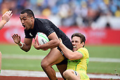 January 27th, Hamilton, New Zealand;  New Zealand's Sione Molia tackled by Australia's Lachie Anderson during the Day 2 of the HSBC World Rugby Sevens Series 2019, FMG Stadium Waikato,Hamilton, Sunday 27th January 2019.