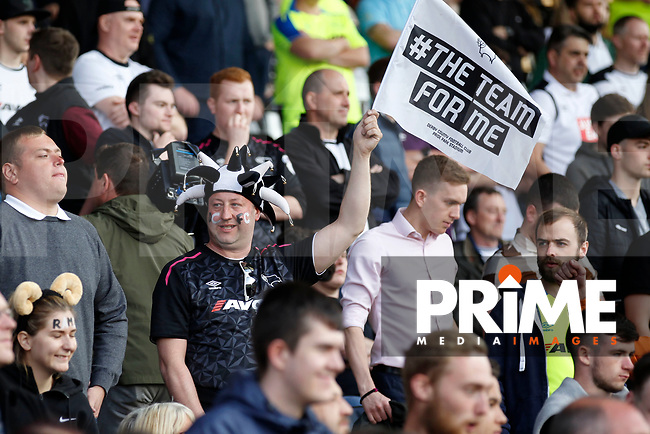 A Derby County fan seen during the Sky Bet Championship play off semi final 2nd leg match between Fulham and Derby County at Craven Cottage, London, England on 15 May 2018. Photo by Carlton Myrie / PRiME Media Images.