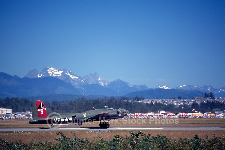 "Boeing B-17G Flying Fortress (""Texas Raiders"") taxiing on Runway - at Abbotsford International Airshow, BC, British Columbia, Canada"