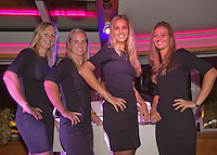 Moskou, Russia, Februari 4, 2016,  Fed Cup Russia-Netherlands,  Official Dinner, Dutch team l.t.r.: Kiki Bertens, Richel Hogenkamp, Arantxa Rus and Cindy Burger<br /> Photo: Tennisimages/Henk Koster