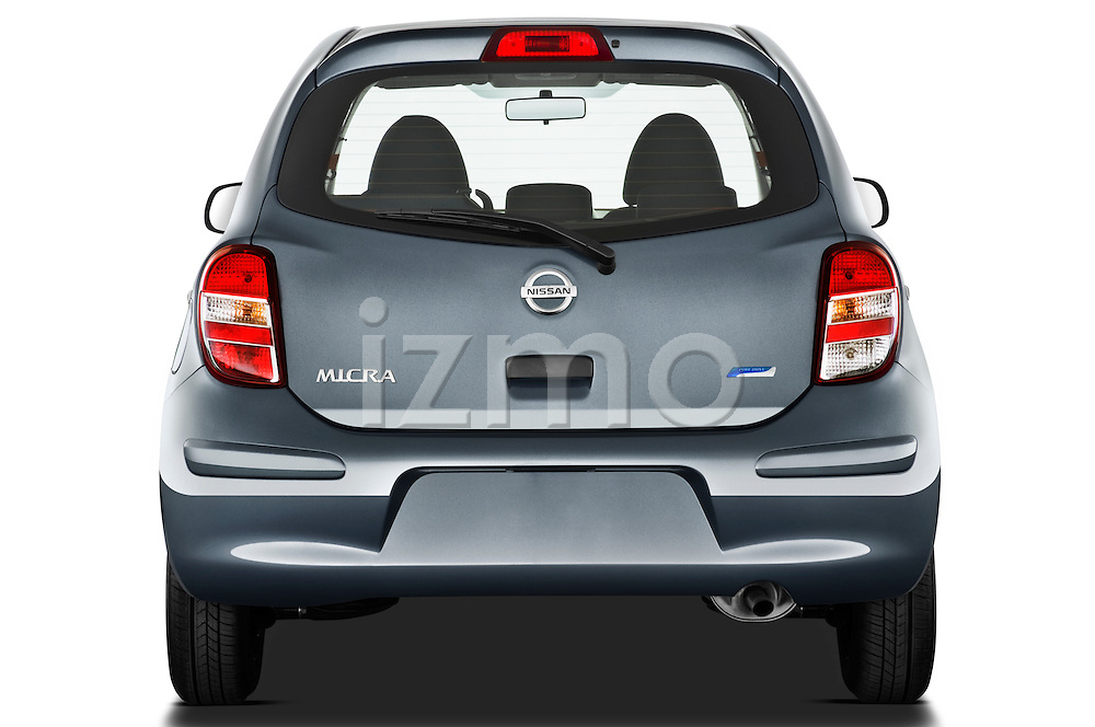 Straight rear view of a 2011 Nissan Micra Visia 5 Door Micro Car