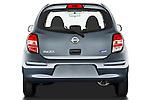 Straight rear view of a 2011 Nissan Micra Visia 5 Door Micro Car