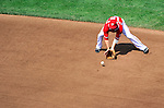 28 May 2011: Washington Nationals second baseman Danny Espinosa fields a grounder during a game against the San Diego Padres at Nationals Park in Washington, District of Columbia. The Padres defeated the Nationals 2-1 to even their 3-game series. Mandatory Credit: Ed Wolfstein Photo
