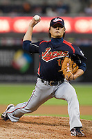 19 March 2009: #39 Hideaki Wakui of Japan pitches against Korea during the 2009 World Baseball Classic Pool 1 game 6 at Petco Park in San Diego, California, USA. Japan wins 6-2 over Korea.