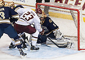 Patrick Brown (BC - 23) scores on Steven Summerhays (ND - 1). - The visiting University of Notre Dame Fighting Irish defeated the Boston College Eagles 7-2 on Friday, March 14, 2014, in the first game of their Hockey East quarterfinals matchup at Kelley Rink in Conte Forum in Chestnut Hill, Massachusetts.