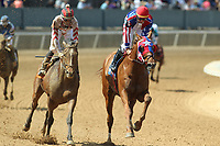 HOT SPRINGS, AR - APRIL 15: Snickerboxer #7 (left) with jockey Ramon Vazquez aboard and Pinson #3 (right) with jockey Corey Lanerie aboard after the 5th race at Oaklawn Park on April 15, 2017 in Hot Springs, Arkansas. (Photo by Justin Manning/Eclipse Sportswire/Getty Images)