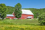 A red barn in Calais, VT, USA