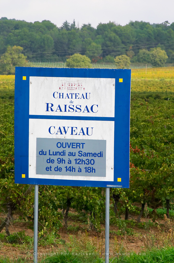 Chateau de Raissac, wine shop open Monday to Saturday. Languedoc. France. Europe.