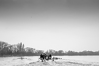 Greater London. United Kingdom, left Cambridge women's Blue Boat  at the start of the Fulham Bend, Craven Cottage,   right Oxford. University Boat Races , Cambridge University vs Oxford University. Putney to Mortlake,  Championship Course, River Thames, London. <br /> <br /> Saturday  24.03.18<br /> <br /> [Mandatory Credit  Intersport Images]