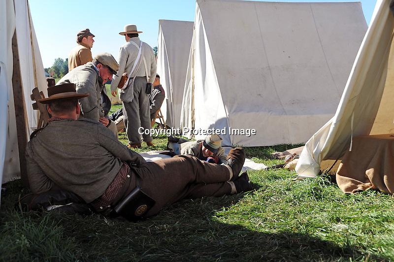 Civil War Reenactment Confederate Camp Soldiers and Tents