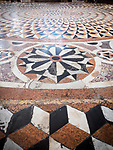 Floor mosaic, stone floors, Basilica di Santa Maria della Salute, Venice, Italy