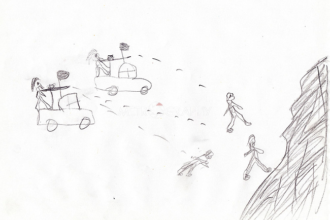 08/02/15 -- Sulaimaniyah, Iraq -- A drawing of Anas, from Kobani, picturing unknown fighters shooting at people in the mountains. It was impossible to understand whether this scene was experienced by the child or whether he has seen in on TV.