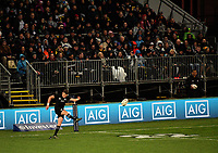 Beauden Barrett kicks for goal during the Rugby Championship match between the NZ All Blacks and Argentina Pumas at Yarrow Stadium in New Plymouth, New Zealand on Saturday, 9 September 2017. Photo: Dave Lintott / lintottphoto.co.nz