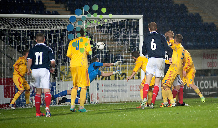 Goalkeeper George Serban of Romania fumbles a ball on the line during the UEFA European Championship Under 19 match between Scotland and Romania at The Falkirk Stadium, Falkirk. 11 October 2012. Picture by Ian Sneddon / Universal News and Sport (Scotland). All pictures must be credited to www.universalnewsandsport.com. (Office) 0844 884 51 22.
