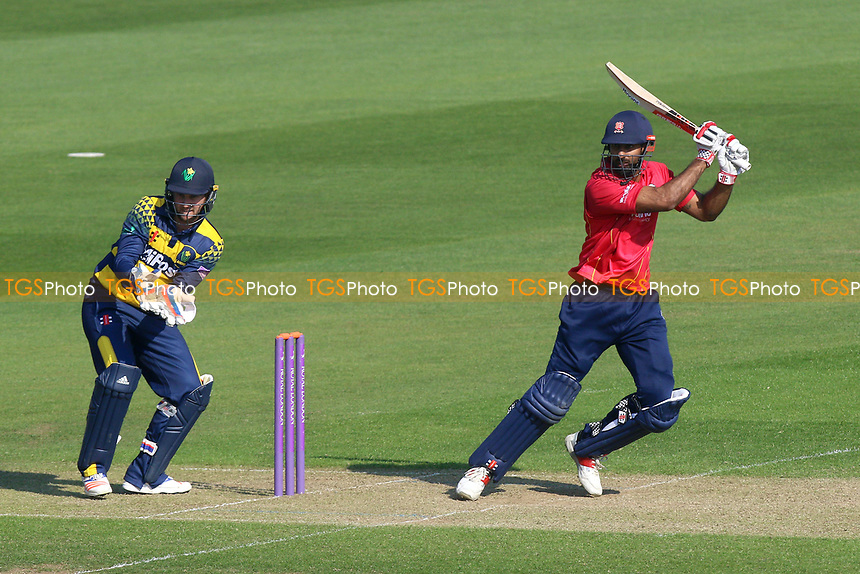 Varun Chopra hits out for Essex as Chris Cooke looks on from behind the stumps during Glamorgan vs Essex Eagles, Royal London One-Day Cup Cricket at the SSE SWALEC Stadium on 7th May 2017