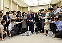 October 18, 2016, Tokyo, Japan - Thomas Back, center, International Olympic Committee president, answers questions from the media following his meeting with Gov. Yuriko Koike during their meeting at the City Hall in Tokyo on Tuesday, October 18, 2016. The IOC chief and the governor discussed a proposed move of the rowing and canoe events out of Tokyo as part of her attempt to cut back on spending for the 2020 Tokyo Olympics.  (Photo by Natsuki Sakai/AFLO) AYF -mis-