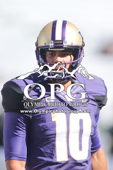 Sept 20, 2014:  Washington's Cyler Miles against Georgia State.  Washington defeated Georgia State 45-14 at Husky Stadium in Seattle, WA.