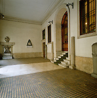 The tiled and marble entrance to the Mario Praz Museum in Rome