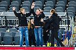 Stockholm 2015-03-13 Bandy SM-final damer Kareby IS - AIK :  <br /> Karebys tr&auml;nare Martin Carlstr&ouml;m jublar med ledare efter matchen mellan Kareby IS och AIK <br /> (Foto: Kenta J&ouml;nsson)<br /> Nyckelord:  SM SM-final final Bandyfinal Bandyfinalen Dam Damer Dambandy AIK Kareby IS jubel gl&auml;dje lycka glad happy tr&auml;nare manager coach