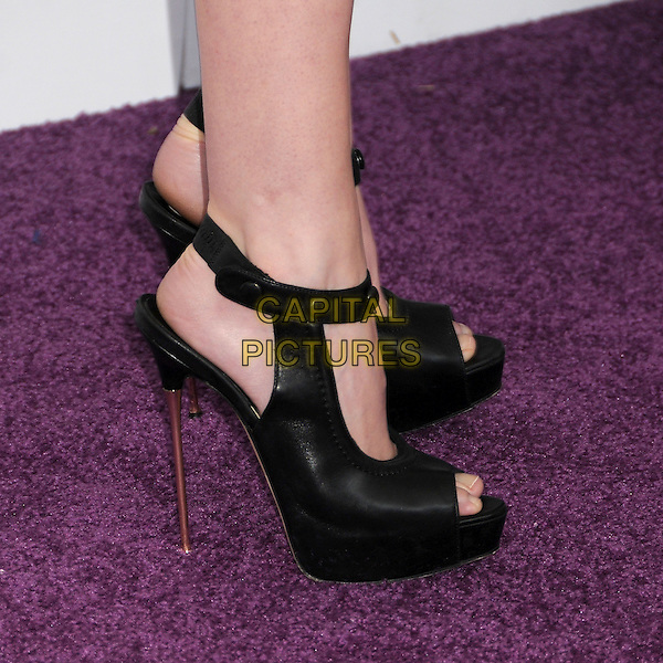 Anna Kendrick's shoes .2012 Film Independent Spirit Awards - Arrivals held at Santa Monica Beach, Santa Monica, California,.25th February 2012..indies indie detail black spike heels platform shoes peep toe open feet .CAP/ADM/BP.©Byron Purvis/AdMedia/Capital Pictures.