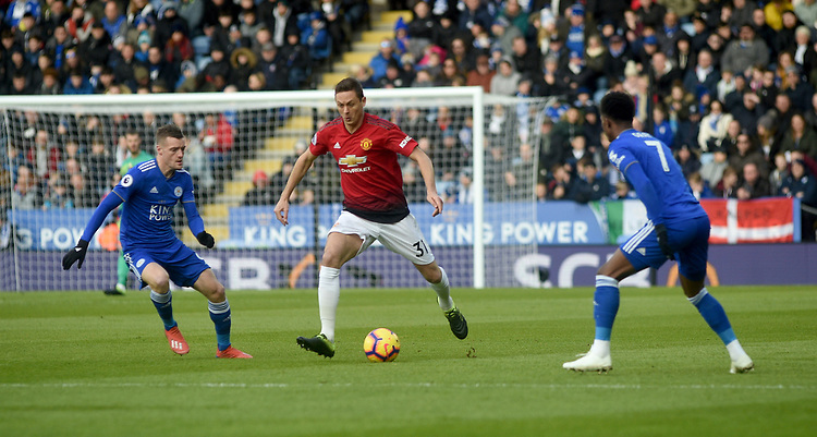 Manchester United's Nemanja Matic battles with  Leicester City's Demarai Gray and Jamie Vardy<br /> <br /> Photographer Hannah Fountain/CameraSport<br /> <br /> The Premier League - Leicester City v Manchester United - Sunday 3rd February 2019 - King Power Stadium - Leicester<br /> <br /> World Copyright © 2019 CameraSport. All rights reserved. 43 Linden Ave. Countesthorpe. Leicester. England. LE8 5PG - Tel: +44 (0) 116 277 4147 - admin@camerasport.com - www.camerasport.com