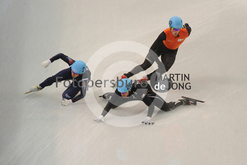 OLYMPICS: SOCHI: Iceberg Skating Palace, 13-02-2014, Shorttrack, 5000m Relay Men, Semifinals, Ho-Suk Lee (#241 | KOR), Eduardo Alvarez (#256 | USA), Freek van der Wart (#249 | NED), ©photo Martin de Jong