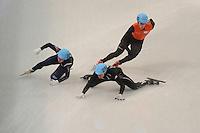 OLYMPICS: SOCHI: Iceberg Skating Palace, 13-02-2014, Shorttrack, 5000m Relay Men, Semifinals, Ho-Suk Lee (#241 | KOR), Eduardo Alvarez (#256 | USA), Freek van der Wart (#249 | NED), ©photo Martin de Jong