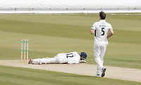Rob Jones of Lancashire CCC is felled by a short delivery from James Harris during Middlesex CCC vs Lancashire CCC, Specsavers County Championship Division 2 Cricket at Lord's Cricket Ground on 13th April 2019