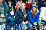 Daithi, John and Caoimhe Lane, Listowel, cheering on Kerry at Austin Stack Park, on Saturday night last.
