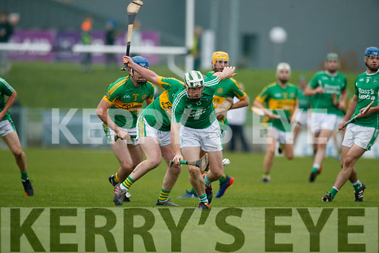 Padraig Boyle Ballyduff in action against Raymond Galvin Lixnaw in the Senior County Hurling Final in Austin Stack Park on Sunday