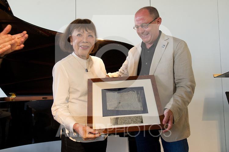 "The japanese pianist Toshiko Akiyoshi receives the ""Donostiako  Jazzaldia"" Award and offers a piano concert in the Basque Culinary Center during the 49th Heineken Jazzaldia in San Sebastian to July 25 of 2014. In the image Toshiko Akiyoshi (L) and Juan Carlos lzagirre (R) (Mayor of San Sebastian)"