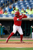 Clearwater Threshers second baseman Drew Stankiewicz (15) at bat during the first game of a doubleheader against the Lakeland Flying Tigers on June 14, 2017 at Spectrum Field in Clearwater, Florida.  Lakeland defeated Clearwater 5-1.  (Mike Janes/Four Seam Images)