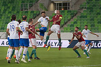 Marios Oikonomou (L) of Greece and Adam Szalai (R) of Hungary go for a header during the UEFA Nations' League qualifying match between Hungary and Greece at the Groupama Arena stadium in Budapest, Hungary on Sept. 11, 2018. ATTILA VOLGYI