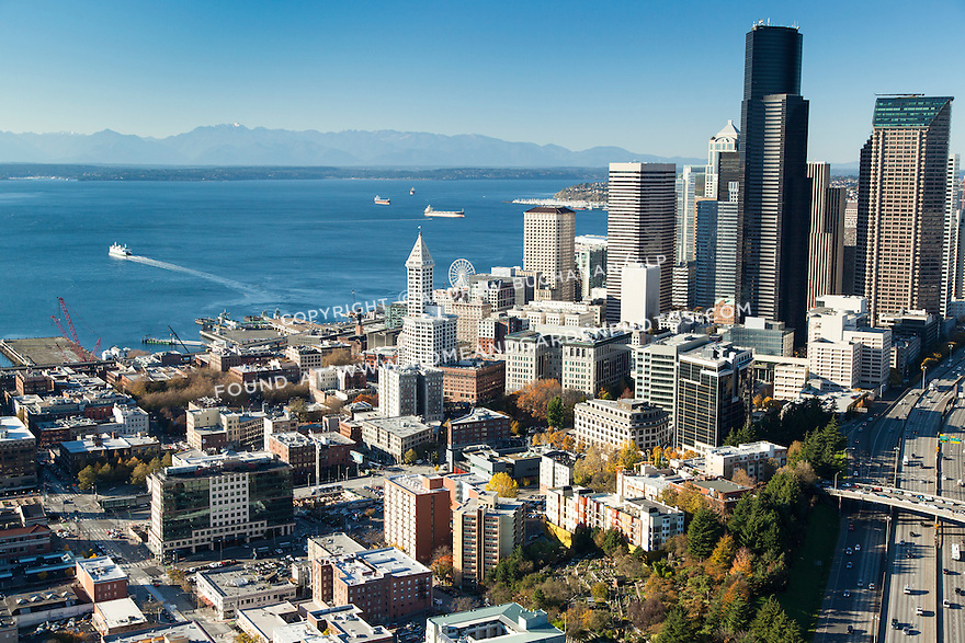Aerial view of Seattle's Pioneer Square, downtown skyline, and Puget Sound
