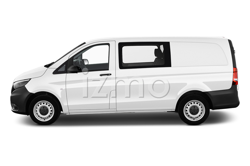 Car driver side profile view of a 2019 Mercedes Benz Vito Base 4 Door Cargo Van