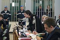 Roma, 19 Novembre 2015<br /> Ippolita Naso.<br /> Imputati detenuti dietro le sbarre delle celle.<br /> Aula bunker di Rebibbia<br /> Terza udienza del processo Mafia Capitale, Roma Capitale, avvocati,
